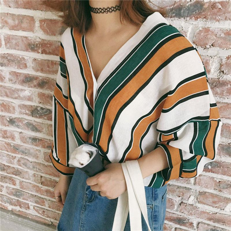 Women Striped Loose Blouses V-neck Plus Size Shirt Regular Long Sleeve Blouse Casual Cotton Blouse Tops Fashion Shirts Tees
