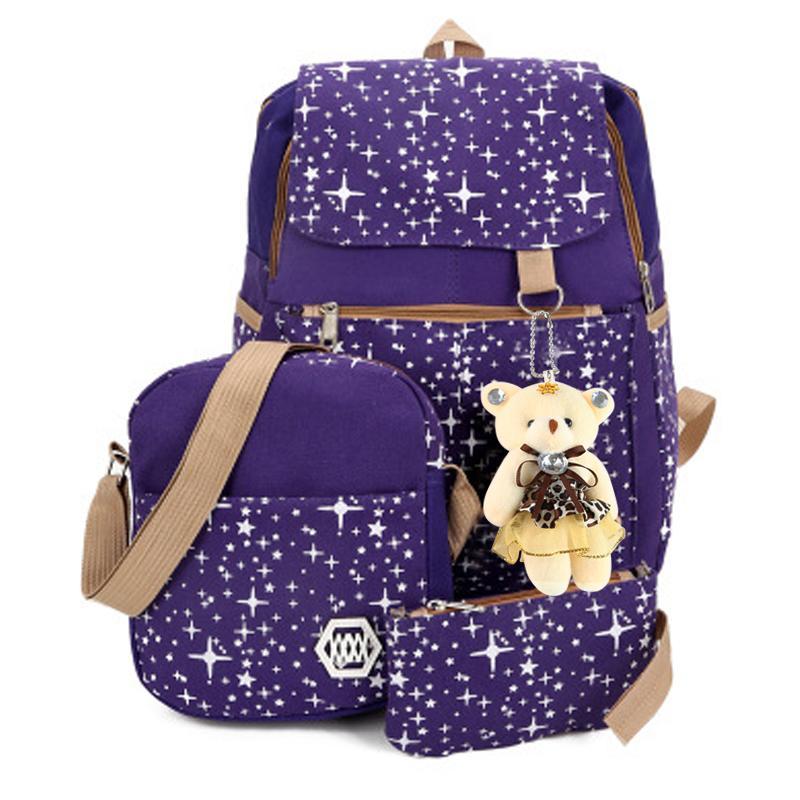 Women Girls Travel Canvas Rucksack Backpack Tote Stars Printing School  Shoulder Bag Large Capacity Travel Rucksack Leather Backpacks One Strap  Backpack From ... c317596fdc