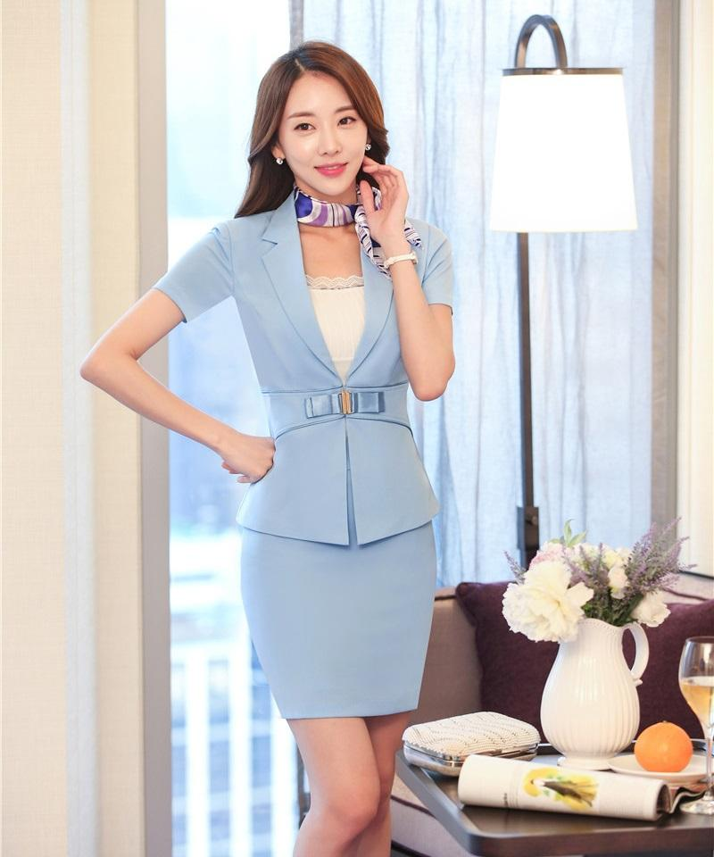 da9b8b82188 2019 Summer Two Piece Sets Womens Professional Skirts Suits Blue Blazer And Jacket  Office Women Work Wear Uniforms Style From Octavi