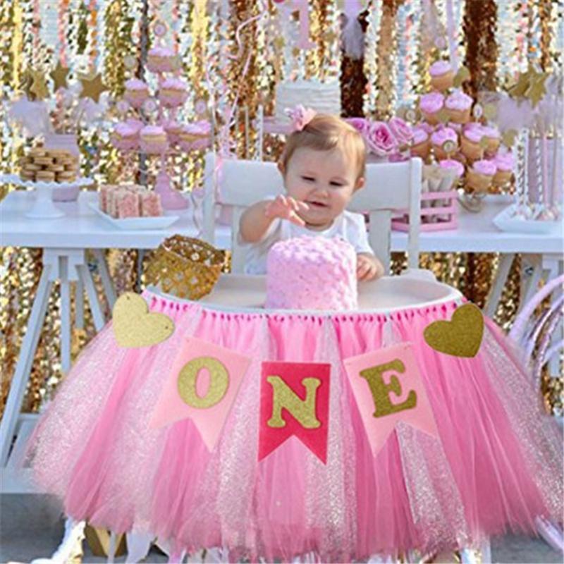 Grosshandel Grosshandels Baby Erster Geburtstag Blau Rosa Stuhl Banner
