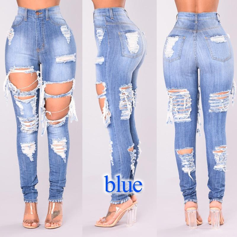 88e70080450 2019 Ripped Jeans For Women Blue Hole Plus Size Mom Jeans American Apparel  Ladies High Waist Jeans Femme From Augusss