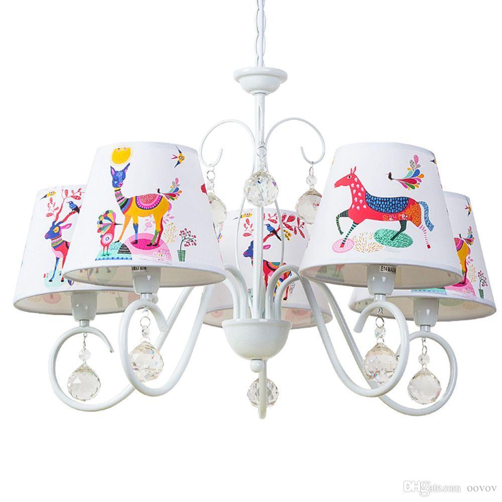OOVOV Kinderzimmer Cartoon Kristall Kronleuchter, weiß, Eisen, Tuch, für  Kinderzimmer Baby Zimmer Schlafzimmer Pendelleuchte Lampe