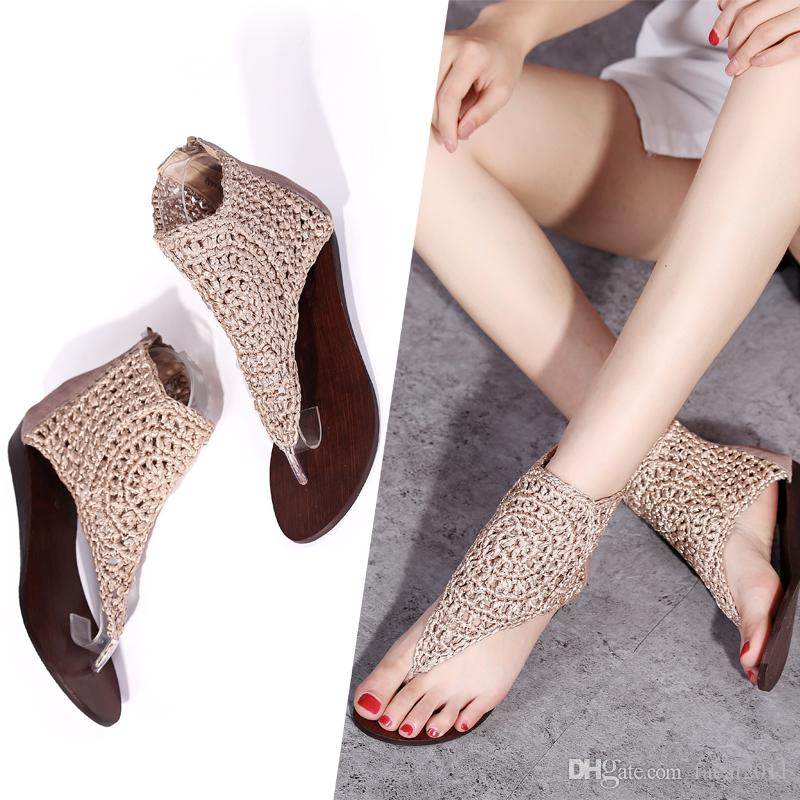 reliable quality online here good out x Summer 2018 New Leather Wedge Sandals Pinch Female Help Roman ...