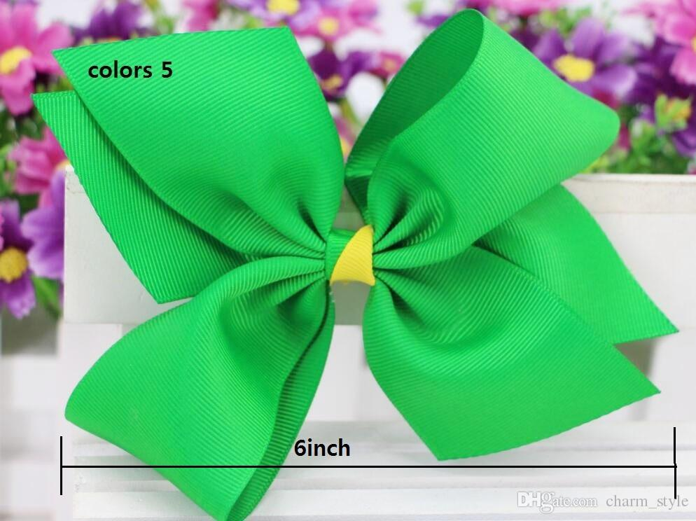2018 NEW ARRIVAL 10 style available ! St. Patrick's Day Glitter Ribbon Cheer Hair Bow WITH HAIR CLIP For Girls Gift DROP SHIPPING /
