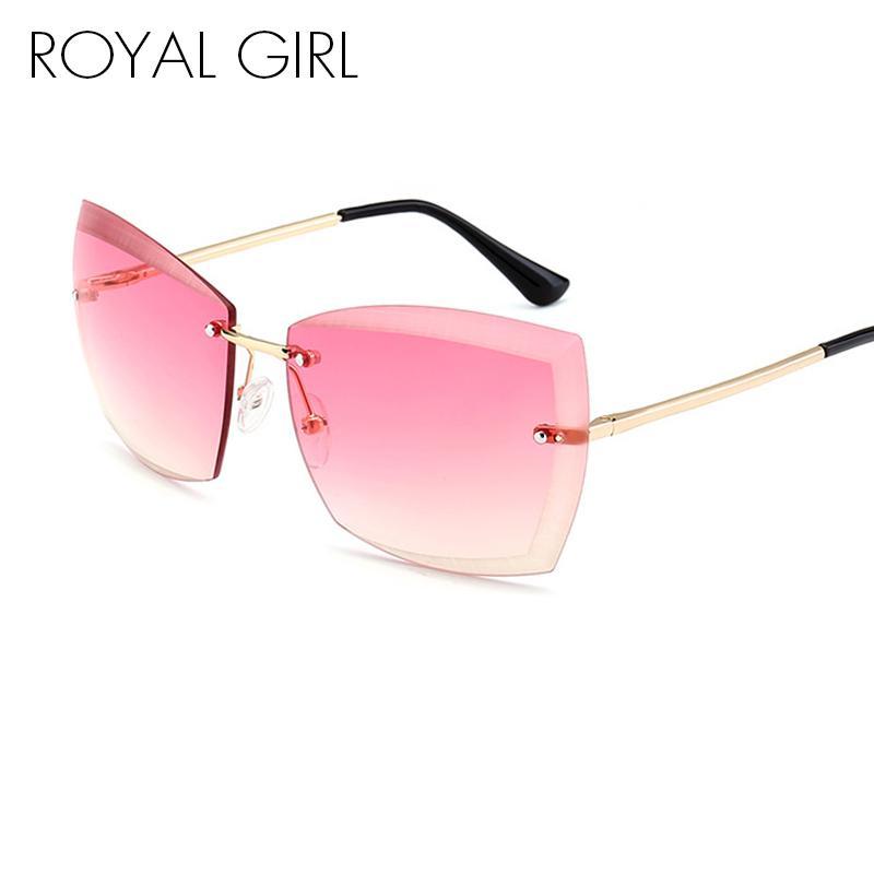 Compre Royal Girl Mujeres Sin Montura Gafas De Sol Square Vintage ...