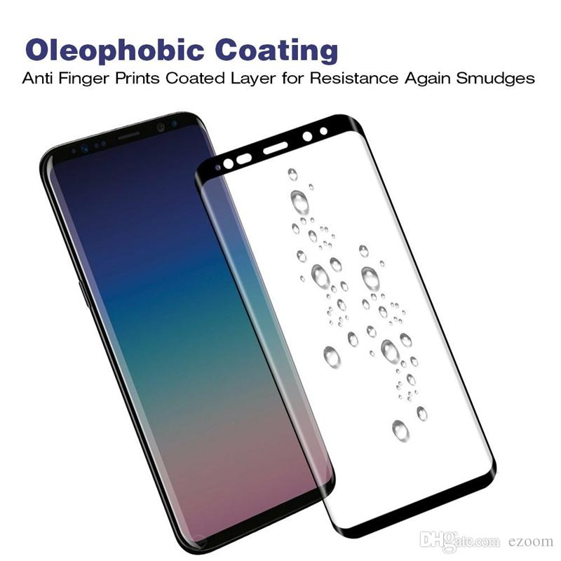 Premium Tempered Glass 9H Hardness For Samsung Galaxy S9 S8 PLUS Note 8 9 S7 S6 EDGE 3D Curved Full Cover Screen Protectors Film