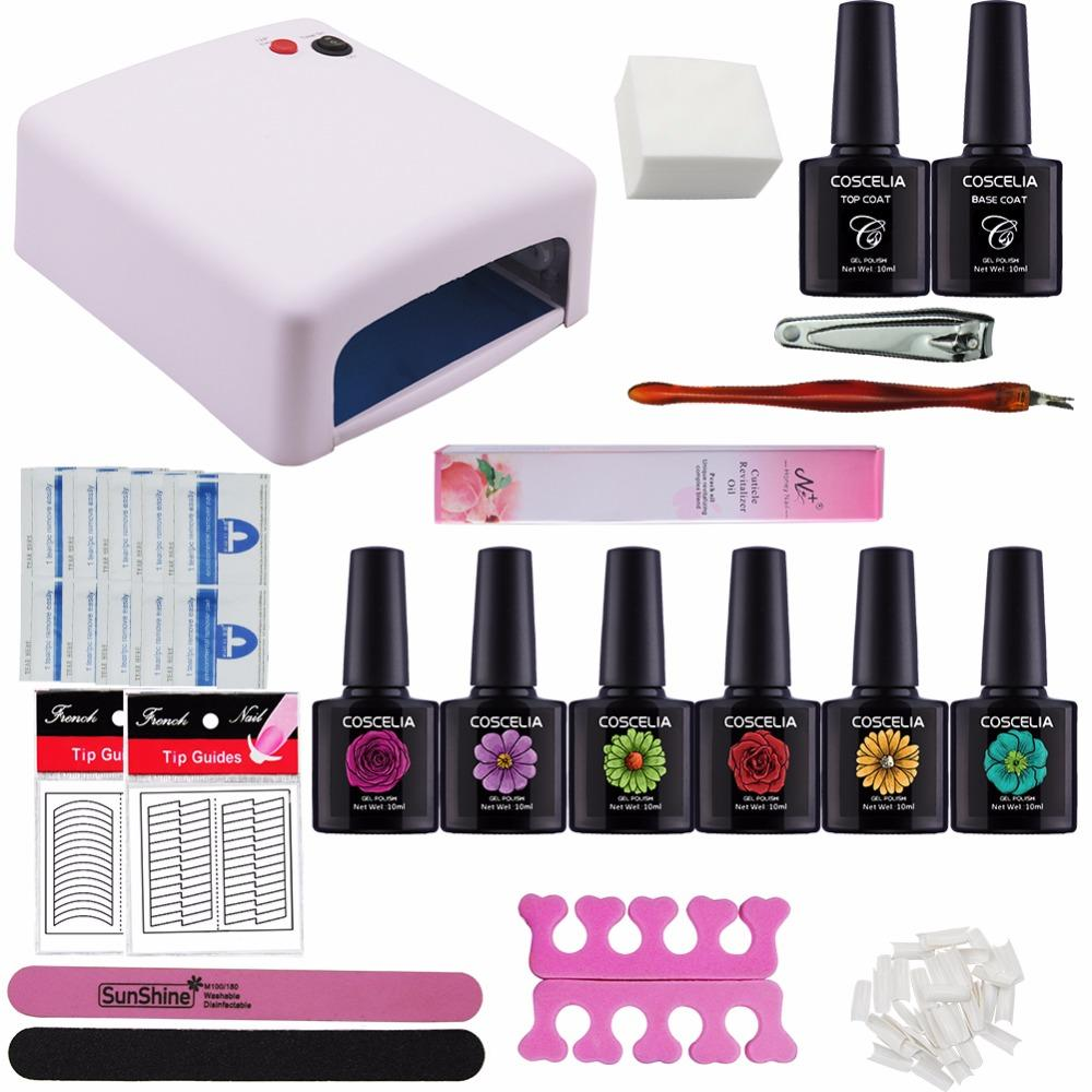 36w Uv Lamp For Nail Dryer 10ml Soak Off Gel Nail Polish Kit Base ...