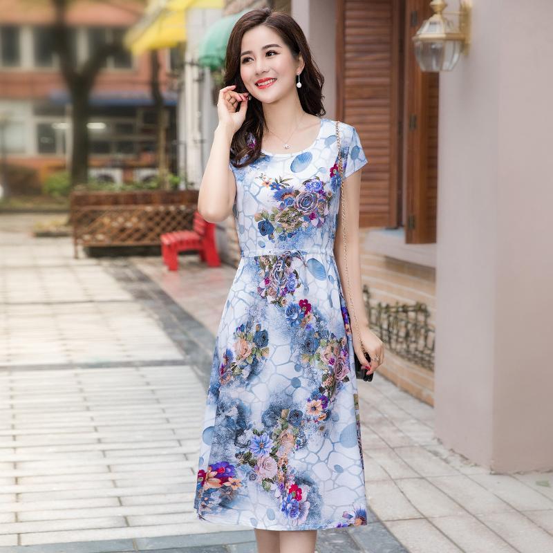 L-4XL 2018 женские летние платья среднего возраста мода печати свободные Dress повседневная с коротким рукавом плюс размер длинные сарафан Vestidos