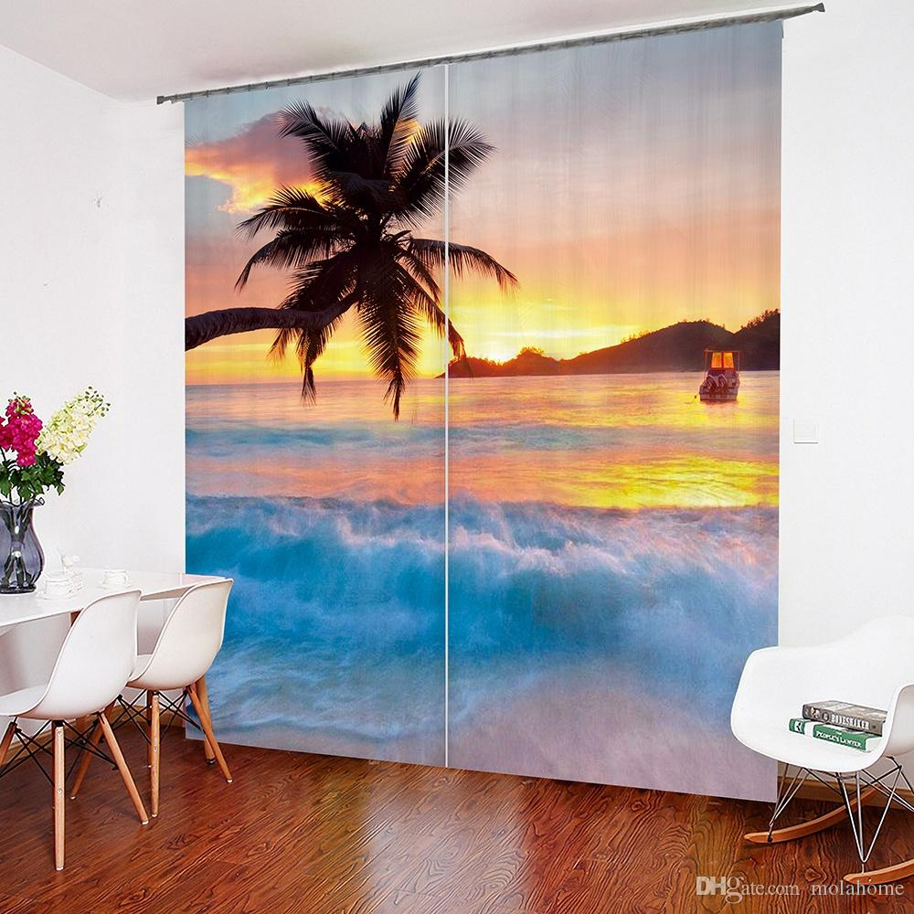 2019 beach sunset art design living room bedroom window drapes 2 rh dhgate com