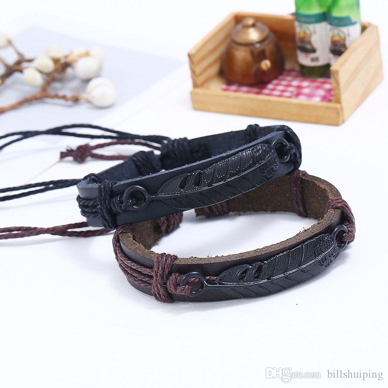 New Fashion Vintage Bohemian Feather Boho Bracelet Cuff Men Leather Femme Male Wristband Jewelry free shipping