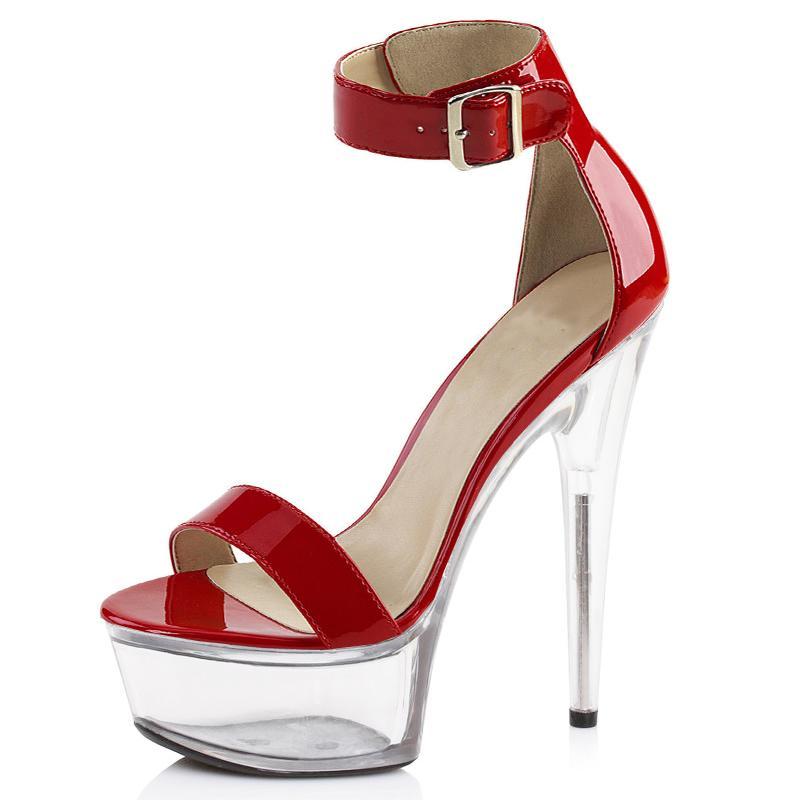 f6932317637 Compre Sandalias De Plataforma 15cm Claro Tacones Altos Transparente Zapatos  De Verano Mujer Rojo Negro Oro Correa De Tobillo Fenty Zapatos De Fiesta De  ...