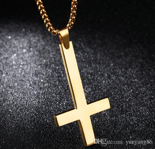 Choisissez Silve couleur or noir mode croix de Saint-Pierre Upside Down Croix Pendentif Collier catholique en acier inoxydable Boîte chaîne Rolo de 3 mm 24 « »