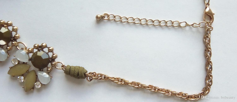 Collana girocollo in pietra sfaccettata multi colori sfaccettata Collana girocollo in oro bicolore girocollo in acrilico color verde acqua