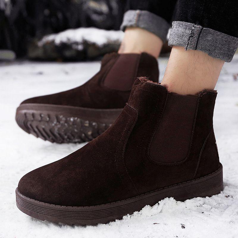 performance sportswear various design elegant and graceful Slip on Winter Shoes Mens Chelsea Boots Platform 2018 Faux Suede Casual  Flat Ankle Boots Plush Warm Cotton Shoes for Men