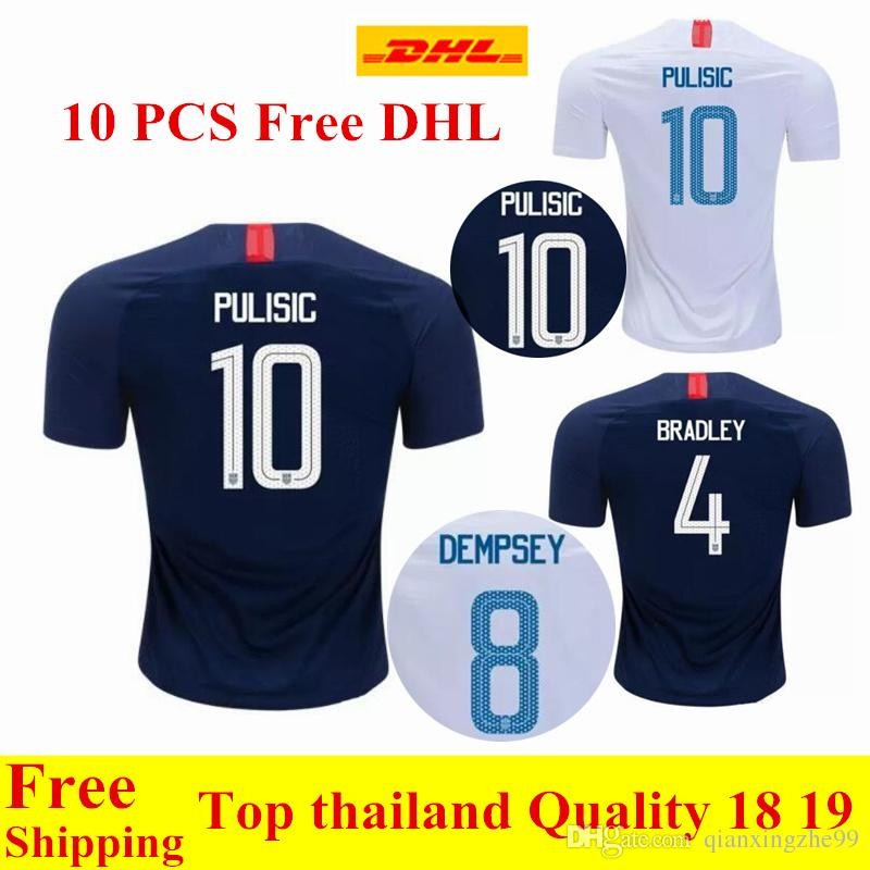 6e712932c 2019 Wholesale Free DHL Thai Quality 2018 2019 USA Jerseys PULISIC Soccer  Jersey 18 19 DEMPSEY BRADLEY ALTIDORE United States Shirt From  Qianxingzhe99, ...