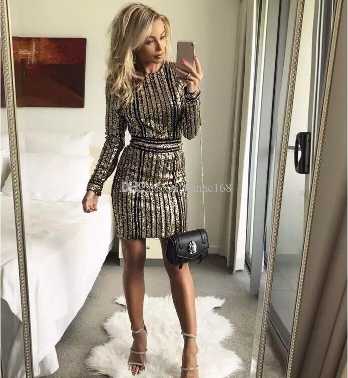 2018 Women's Gold Sexy O-neck Long Sleeve Sequin Belt Rope Dress High-quality Mini Dresses Plus Size XXL