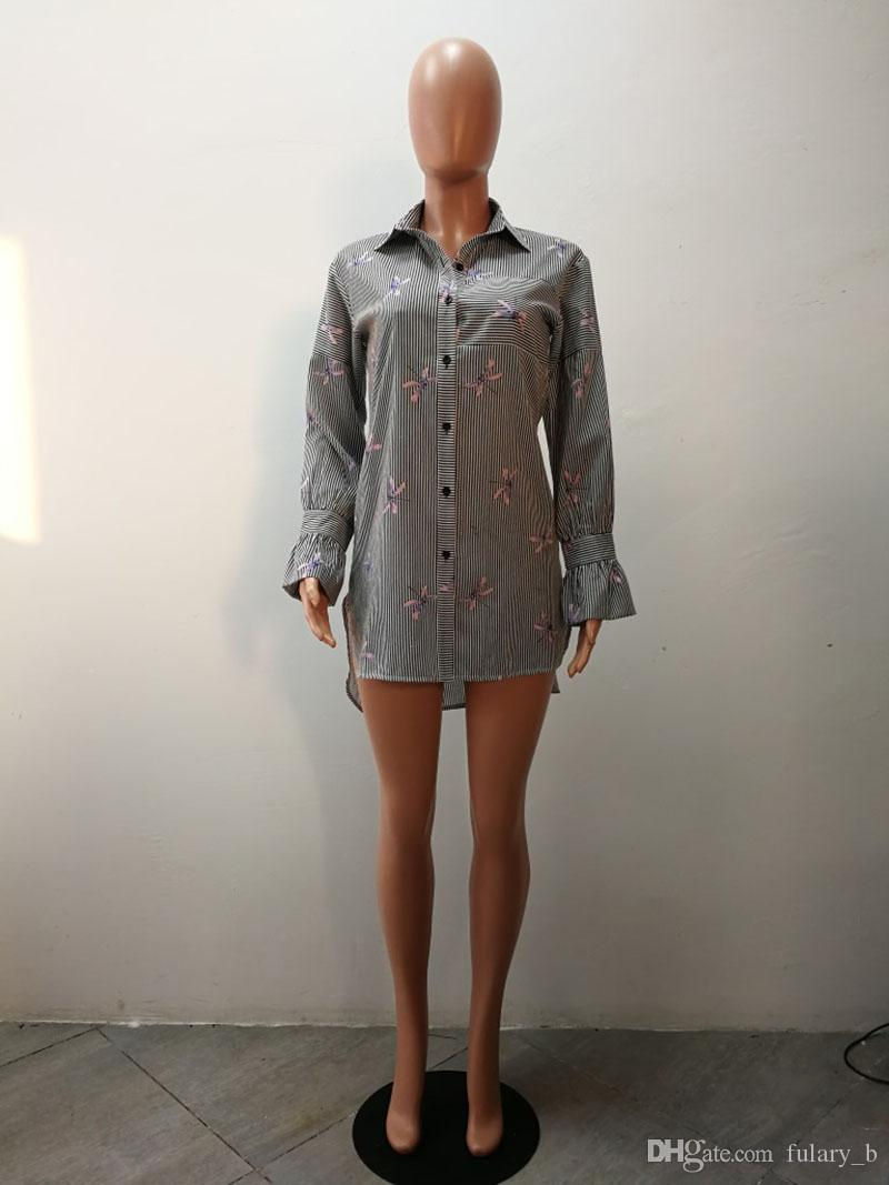 2018 nuovo Womens club Camicette T-shirt a maniche lunghe T-shirt da donna Stampa libellula di moda Abito camicia irregolare allentato casuale
