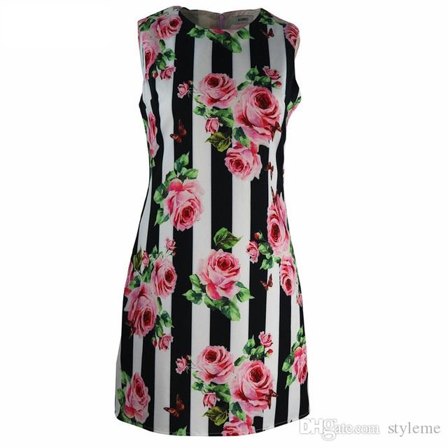 06c1e9328617 2019 Designer Women Runway Rose Print Dresses 2018 Summer Fashion Office  Lady Round Neck Vertical Stripes Sleeveless Tank Tunic Dresses From  Styleme, ...