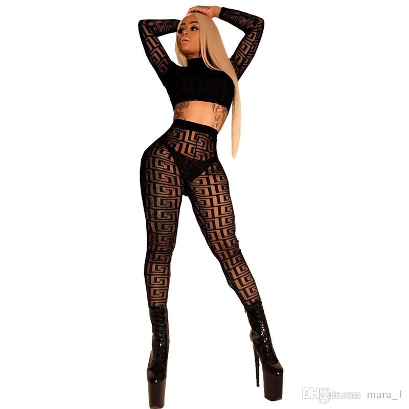 769f7aa036b9 2019 Women Sheer Clubwear Set Leggings Crop Top Mesh Tights Capris Long  Sleeve Sweatshirt Suit Sexy Nightclub Outfits Print Plaid Clothes From  Mara_1, ...
