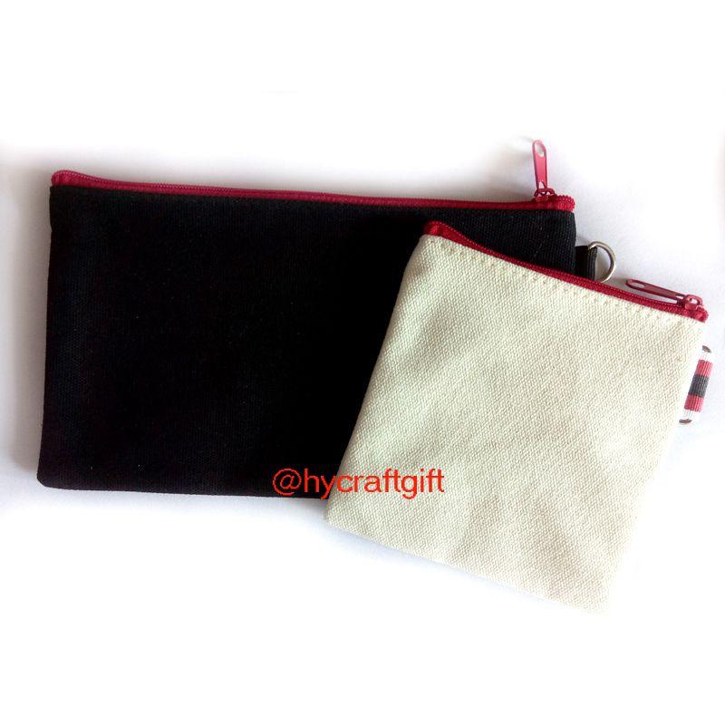 DIY Cream White canvas Makeup bags coin purses blank plain cotton small cosmetic zipper bag Fashion wallets pencil cases mobile pouches