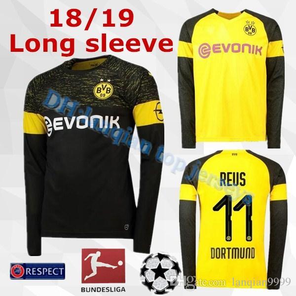 37d14820469c6 Dortmund Camiseta De Fútbol De Manga Larga Para Casa 18 19   11 REUS Casa  Camiseta De Fútbol Amarilla 2019 Personalizada   22 PULISIC   10 M.GOTZE  Uniforme ...