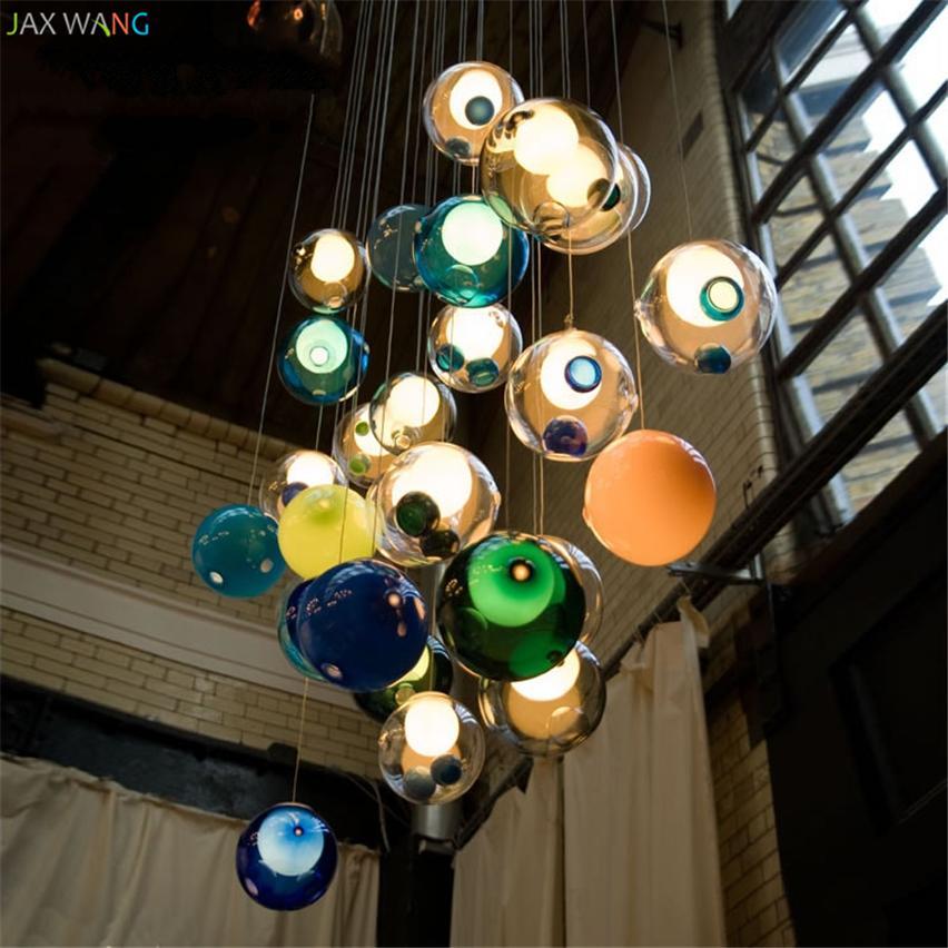Designer Led Restaurant Farbe Led Pendelleuchten Kristallglaskugel Duplex Treppenhaus Wohnzimmer Licht Villa Bubble Hangelampe