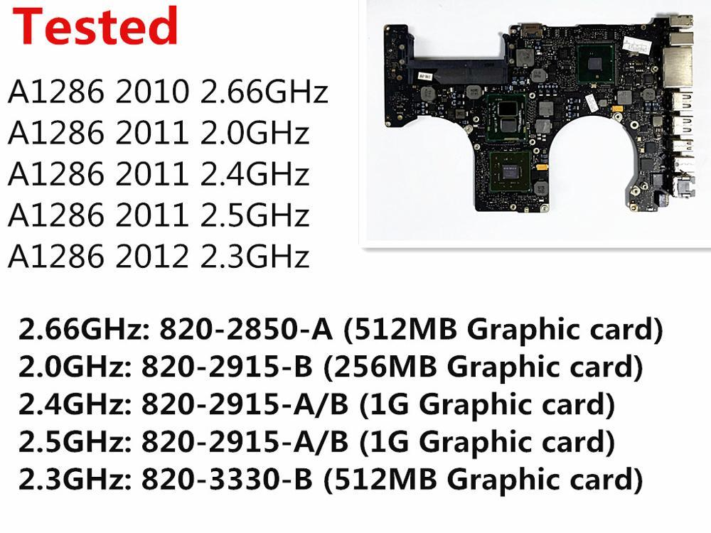 Tested Motherboard for Macbook Pro 15 A1286 2010 Laptop Logic Board i7  2 66Ghz 820-2850-A 2011 2 0Ghz 820-2915-B 2012 2 3GHz