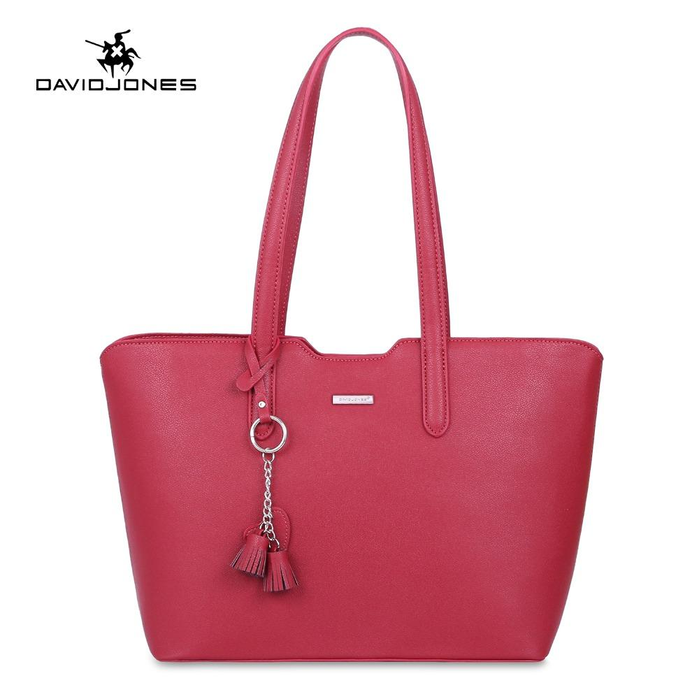 dad1f2fb2614 DAVIDJONES Women Shoulder Bags Fashion Pure Handbag Party Tote Bag Large Faux  Leather Satchel Laptop Top Handle Drop Shipping Designer Handbags School  Bags ...