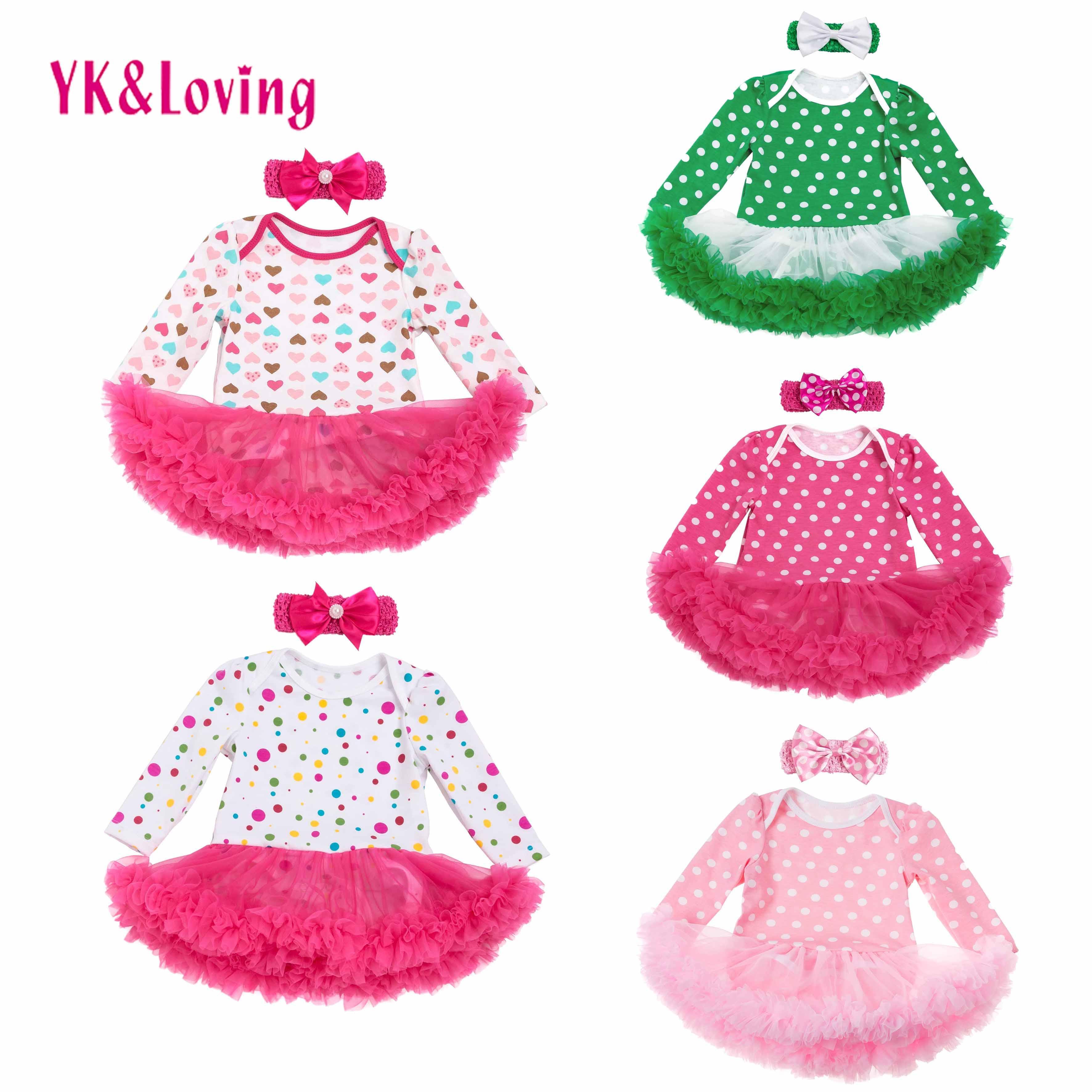 2018 Long Sleeve Newborn Baby Girls Cotton Dress Kids Dress Romper