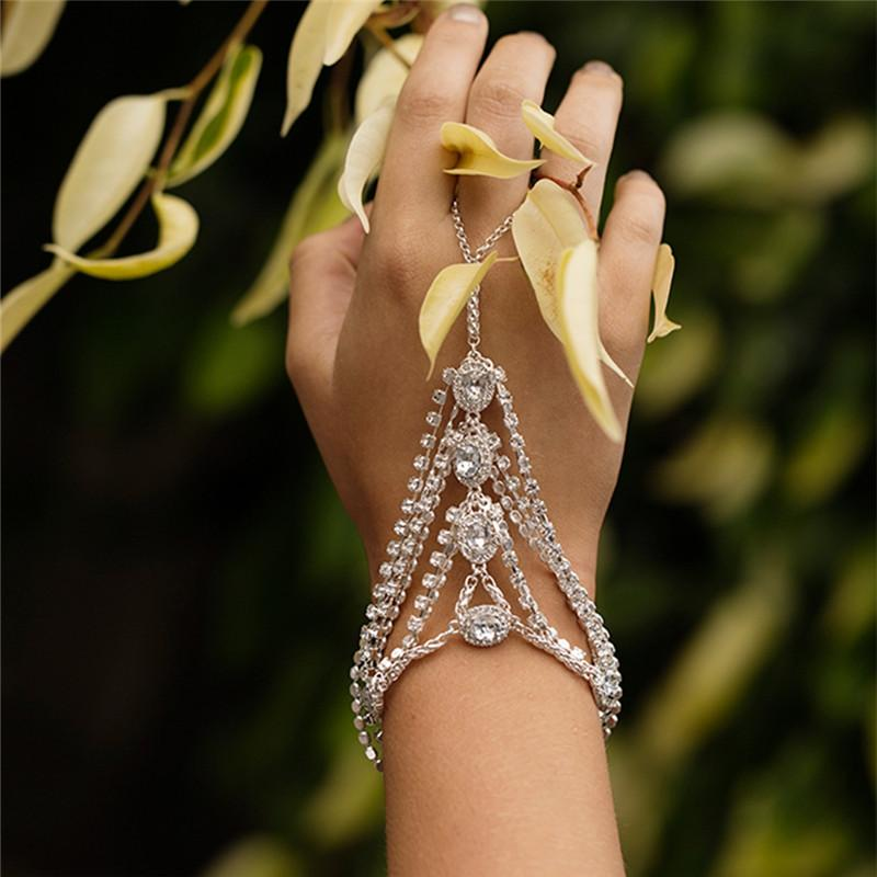 AOMU Gold/Silver Color Crystal Link Chain Lobster Bridal Bracelet &Bangle Rhinestone Wedding Hand Slave Finger Jewelry