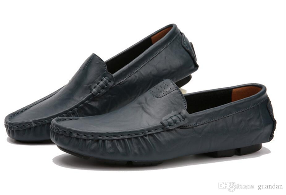 Plus Size 37-48 Slip on Genuine Leather Handmade Mens Loafers Men Casual Mocasines Hombre Oficina Zapato Mocasines Zapatos Hombre dh2H15