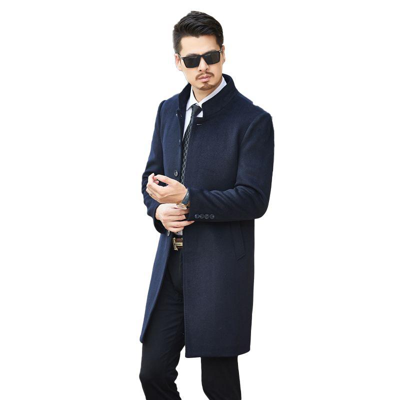 sports shoes 5a015 bb97b Giacche lunghe giacche monopetto casual uomo lana misto giacche pieno  inverno per uomo lana soprabito e visone capelli collo di pelliccia