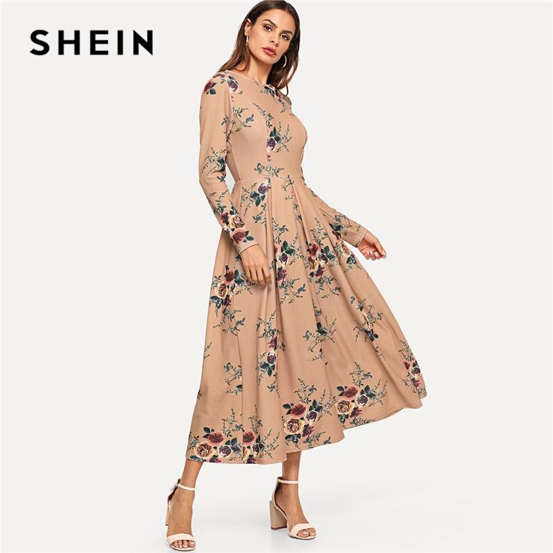 0fa3511151 2019 SHEIN Apricot Flower Print Box Pleated Dress Elegant Fit And Flare  Round Neck Long Sleeve Dresses Women Autumn Long Dress From Peanutoil, ...