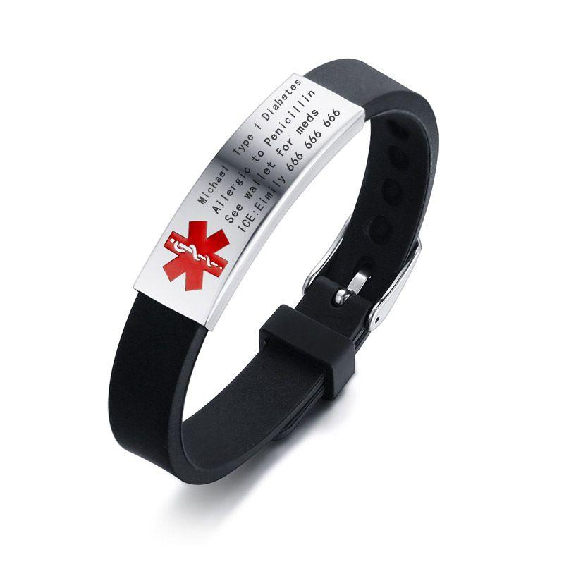 cd6bc91ba4a6 Compre Vnox Engravable Medical Alert ID Pulsera DIABETES EPILEPSIA ALERGIA  ALZHEIMER SOS Mujeres Hombres Joyería A  34.5 Del Luney