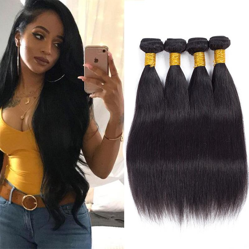 Human Remy Hair Weaves 28 40 Inch Long Straight Black Hair
