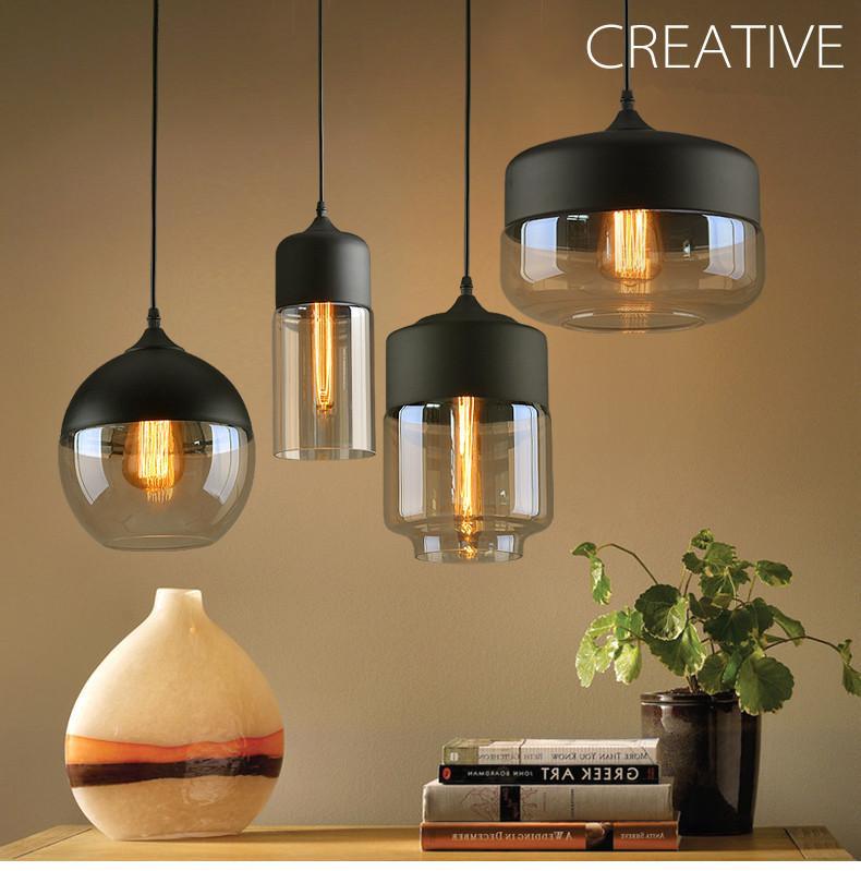 Modern Simple Metal Industrial Glass Pendant Light
