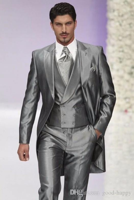 8a534af9812d74 Morning Style Men Wedding Tuxedos Silver Grey 3 Piece Suit Tailcoat  Excellent Men Dinner Prom Party Clothes (Jacket+Pants+Tie+Vest) 1174