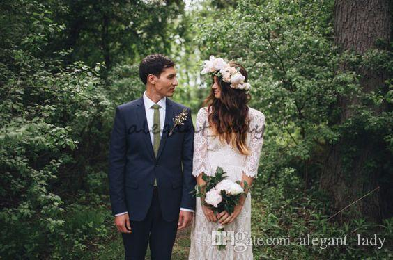 Hippie maxi dentelle hippie maxi dentelle bohème 3/4 robes de mariée à manches longues 2018 Crochet V-Col Beach Boho Robes de mariée bon marché Plus Taille