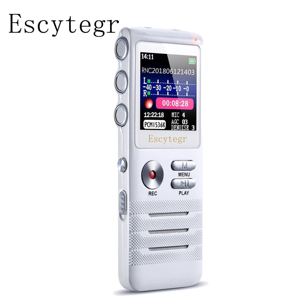 003 Escytegr Voice Activated Recorder Double Microphone Dual-Core Denoise  Record 16GB Audio Recorder MP3 Music Player Dictaphone