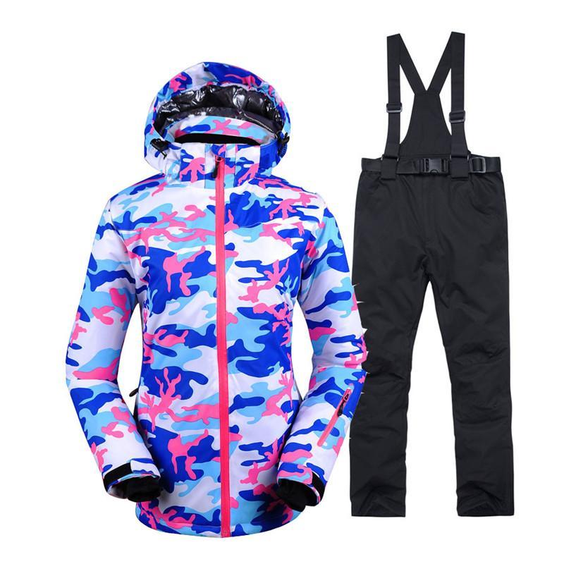 51efddf4 Ropa de nieve barata de camuflaje conjuntos de snowboard impermeables a  prueba de viento ropa deportiva al aire libre Traje de esquí chaqueta  babero ...