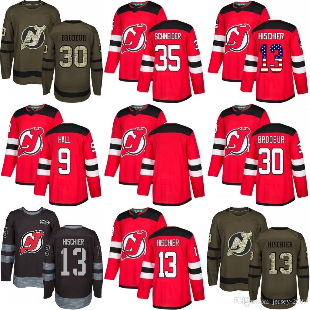 2018 Season New Jersey Devils Jersey 9 Taylor Hall 13 Nico Hischier 30  Martin Brodeur 35 Cory Schneider Red Home Green Black Hockey Jerseys UK  2019 From ... 8b95e77f5