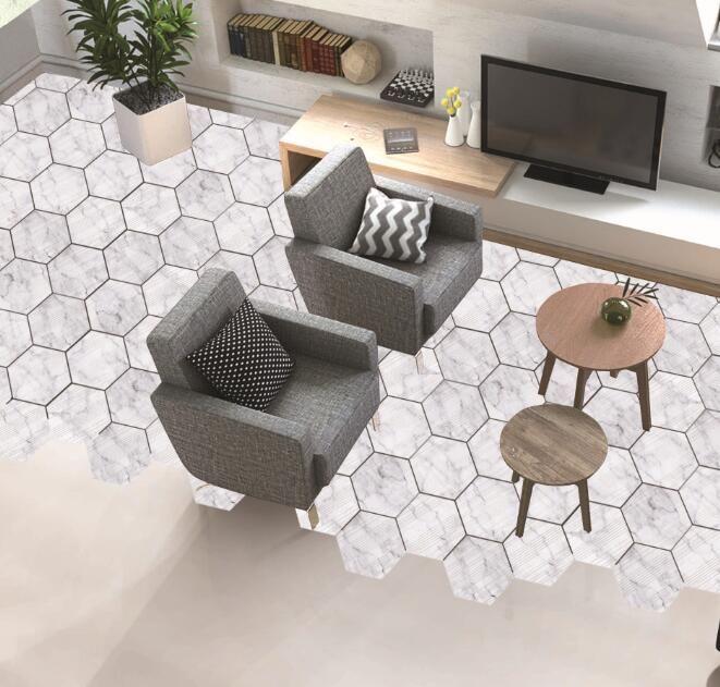 Grosshandel Marmor Dekorative Boden Aufkleber Holz Weiss Hexagon