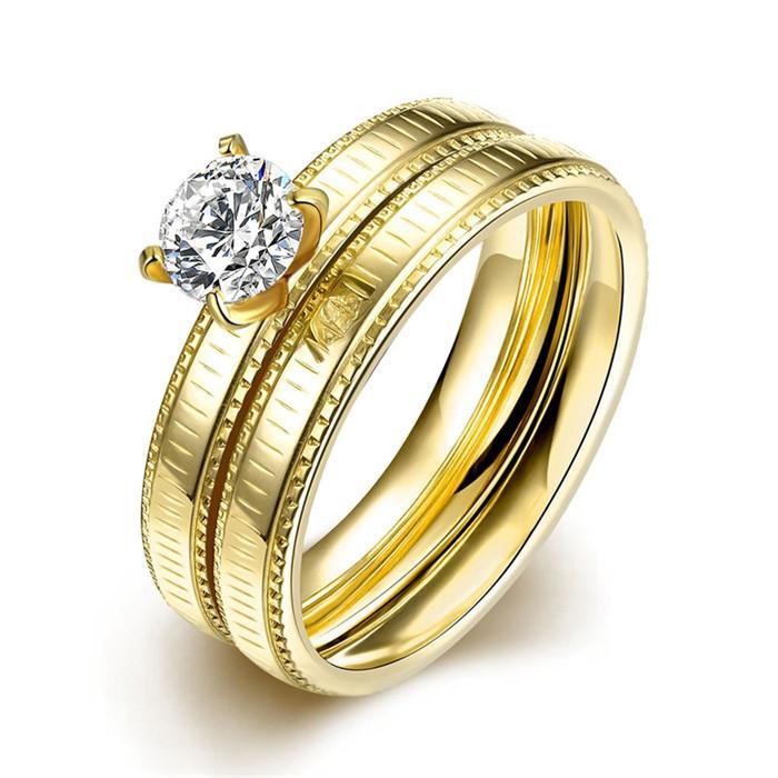 Grosshandel Hochwertige 316l Edelstahl Cz Diamanten Goldene Hochzeit
