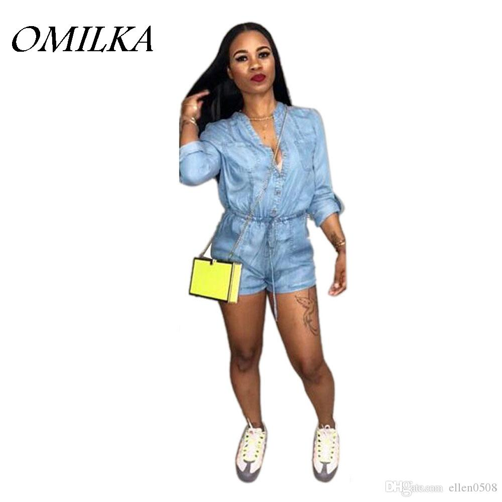 a1732171450c 2019 OMILKA 2018 Spring Women Long Sleeve V Neck Jeans Playsuits Casual  Denim Blue Front Button Bandage Short Rompers Overalls From Ellen0508