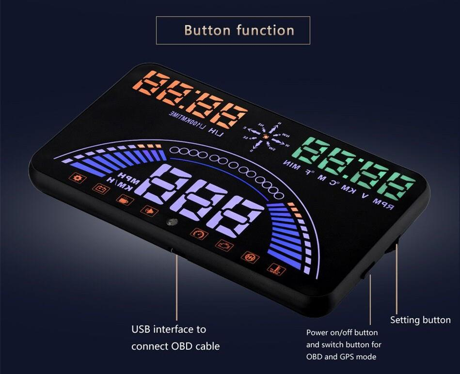 """Latest 5.8"""" Car HUD Head Up Display OBD2+GPS Two Systems Over Speed Alarm Dash Board Digital Speedometer with OBDII interface"""