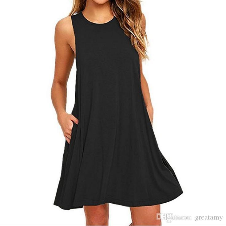 Hot sale women's fashion sleeveless pocket casual tank plus size solid vest swing dress S-XXL
