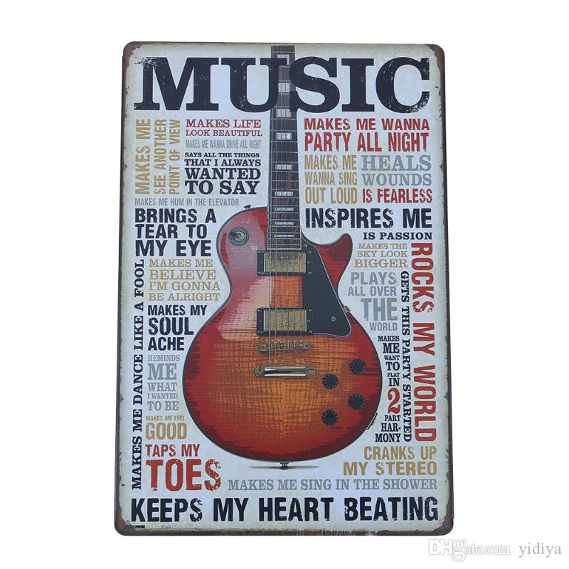 Elegant Vintage Photo Home Decor Guitar Metal Signs Home Decor Cafe Bar Wall  Sticker House Living Room Poster Iron Painting Metal Painting Vintage  Painting Wall ...