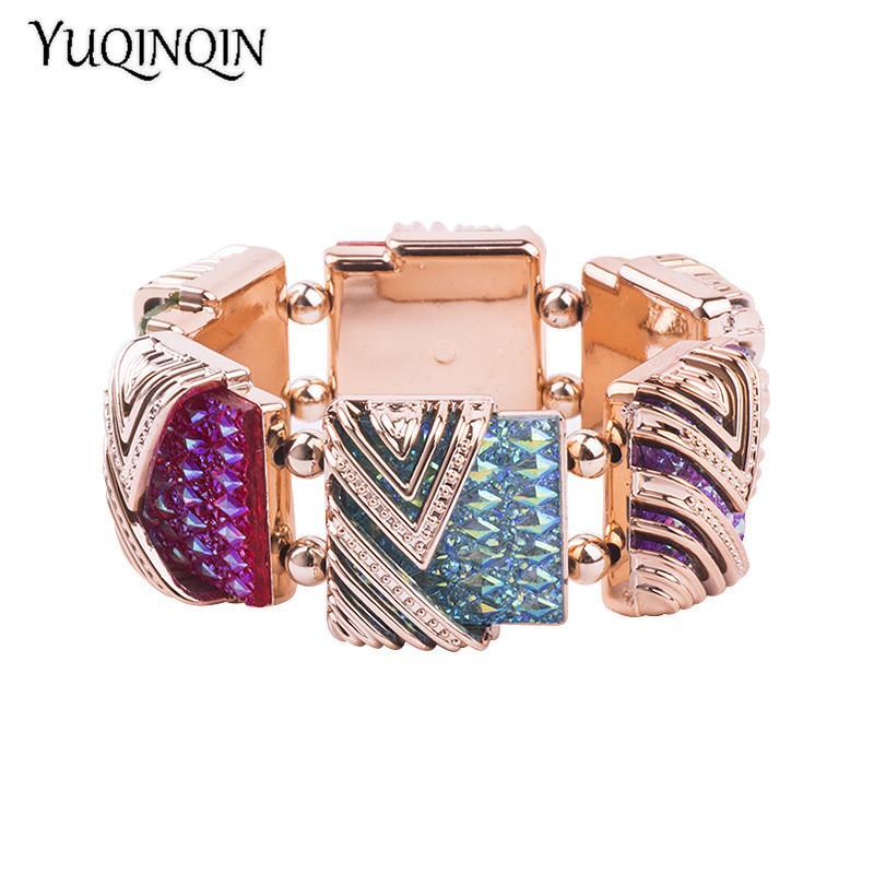f0e315fe3a8a Classic Gold Cuff Bracelets Bangles For Women Fashion New Stretch Geometric  Colourful Crystal Bracelet Simple Charm Jewelry Chunky Silver Bangles Plain  ...