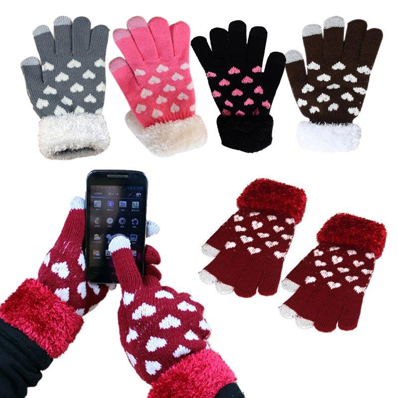 2018 Heart Pattern Winter Warm Capacitive Touchscreen Knit Gloves