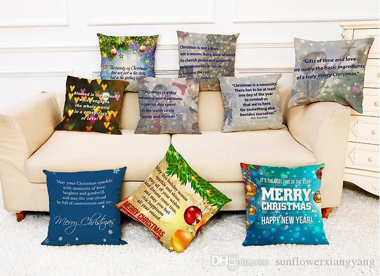 Christmas Themes Quotes And Sayings Linen Cushion Covers Home Office Simple Pillow Insert Meaning